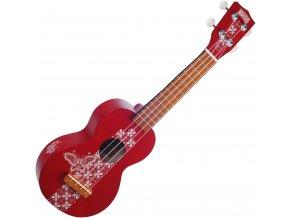 mahalo červené ukulele se vzorem a obalem