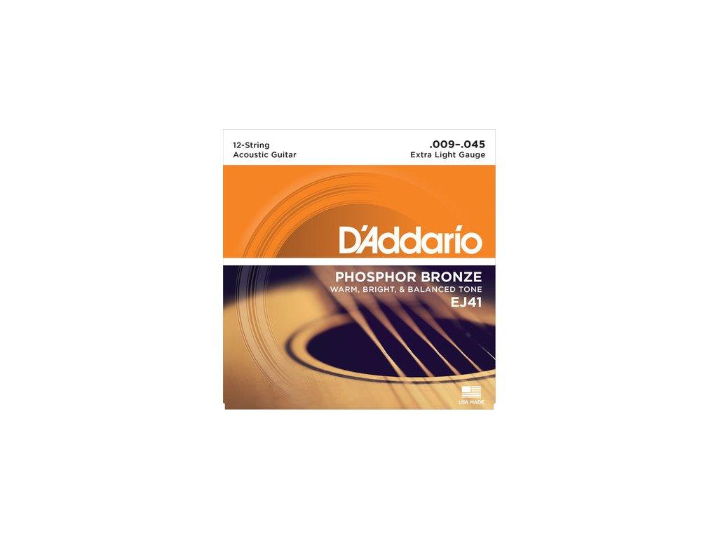 D'Addario EJ41 Extra Light 12-strunná sada na akustickou kytaru