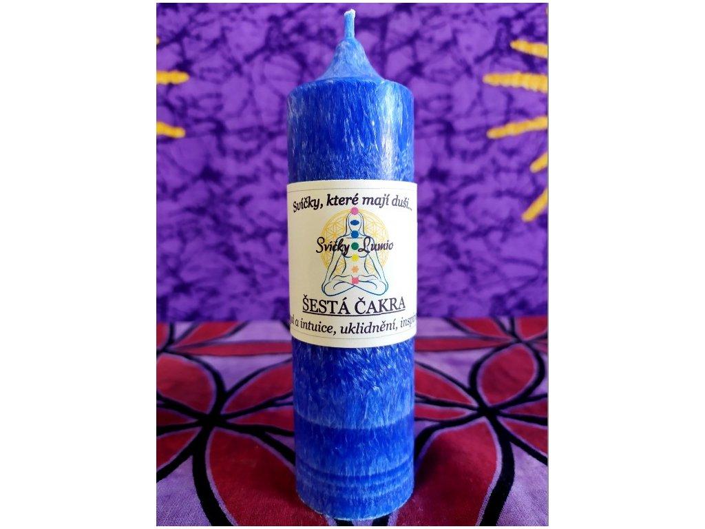 Čakrová svíce modrá - 6.čakra - (14x4cm)