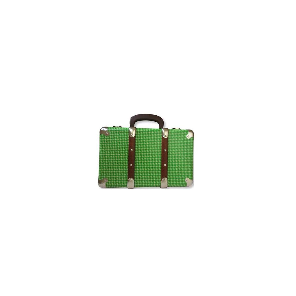Nýtovaný kufr pepito zelený 30 cm