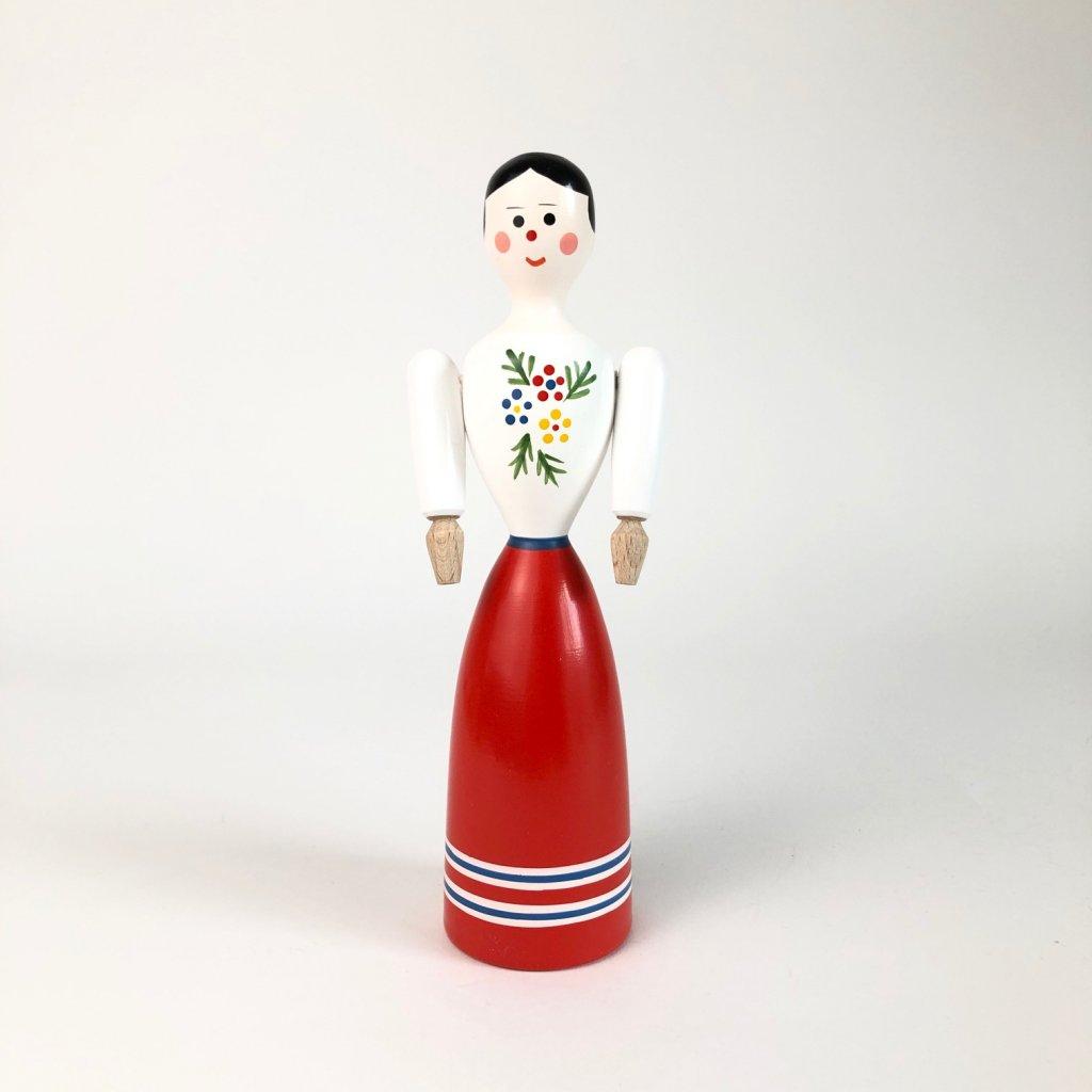 Dřevěná panenka bílá s červenou sukní
