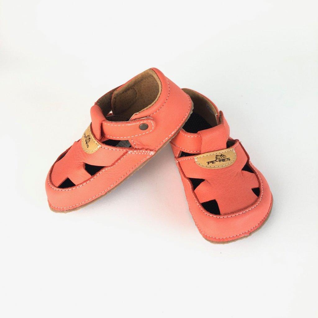 Barefoot sandálky kožené lososové