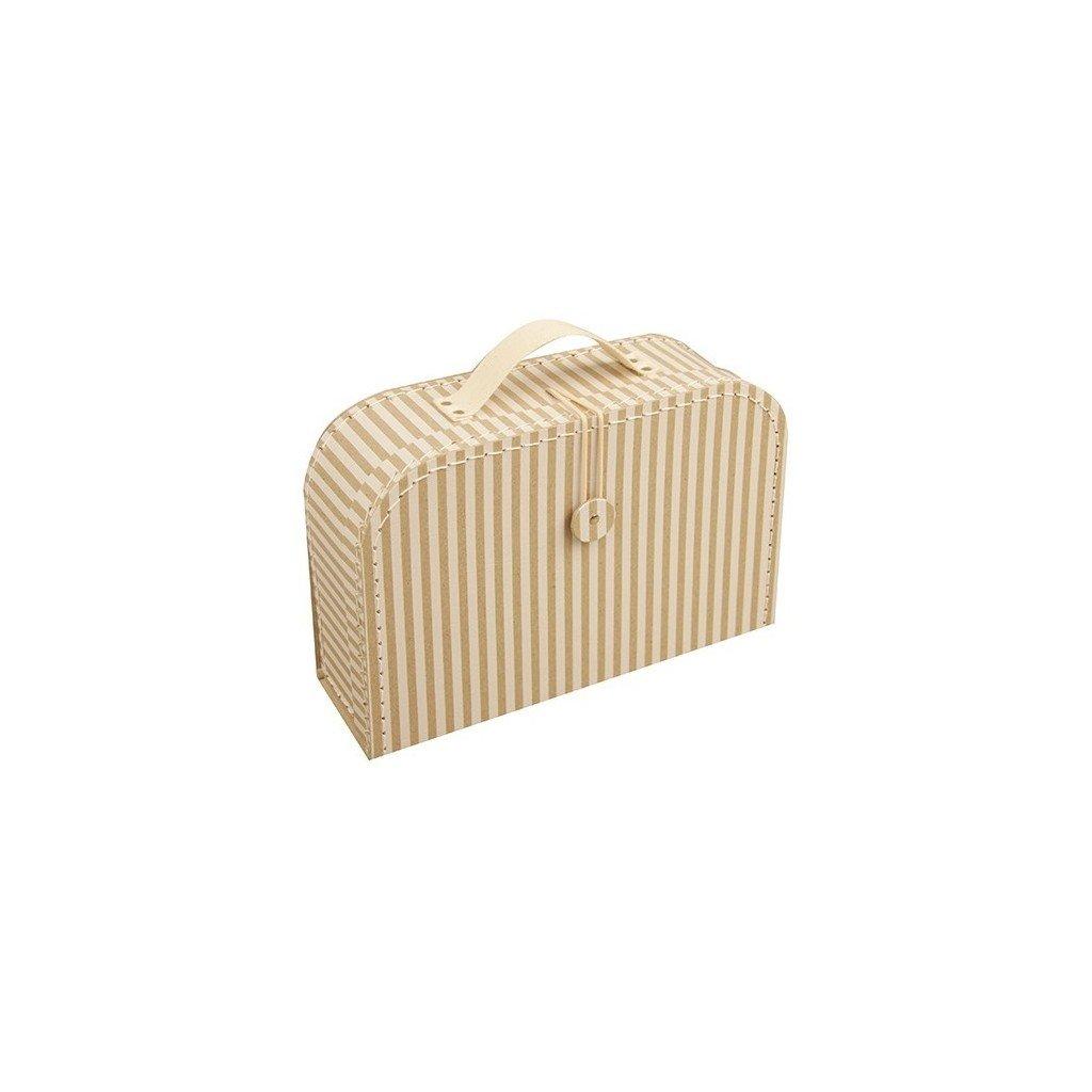 Proužkovaný kufr s knoflíkem střední