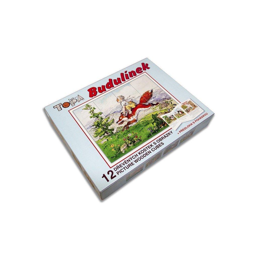 Dřevěné kostky - Budulínek + tištěná pohádka
