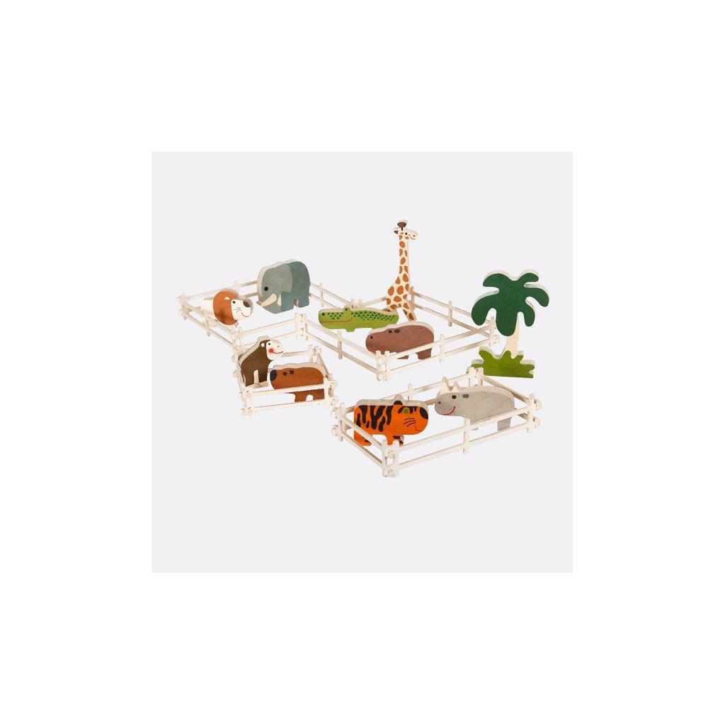 Zoo - sada dřevěných zvířátek