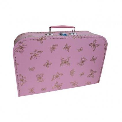 7679522 0035 9550 kufřík růžový zlatí motýlci růžové držadlo a béžové nitě