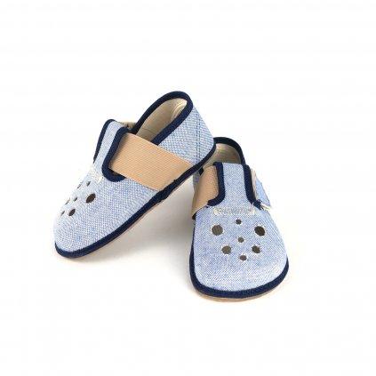 Barefoot papučky látkové modré