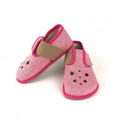 Barefoot papučky látkové růžové