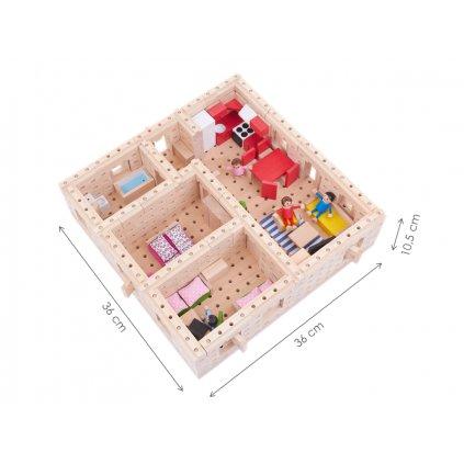 Dřevěná stavebnice Buko – Velký dům půdorys, 298 dílů