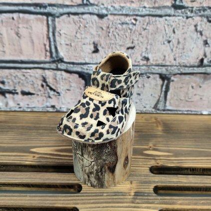 Barefoot sandálky kožené leopardí
