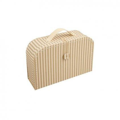 Proužkovaný kufr s knoflíkem velký