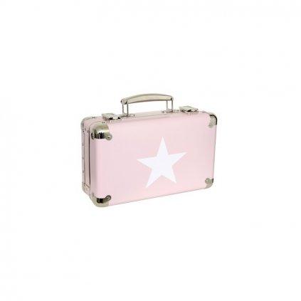 Nýtovaný kufr s hvězdou růžový