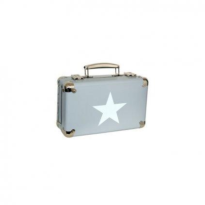 Nýtovaný kufr s hvězdou šedý