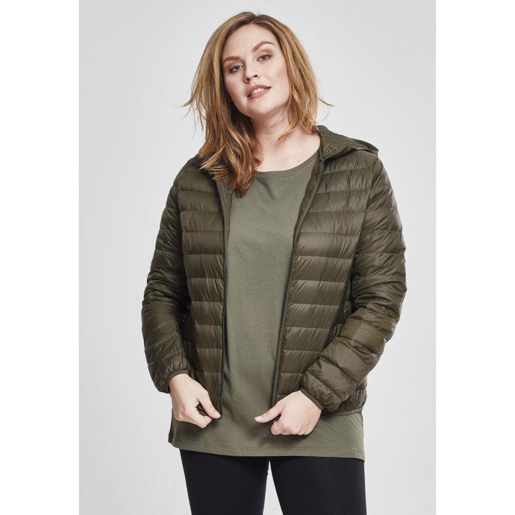 Dámska prechodná bunda Ladies Basic Hooded Down Jacket darkolive