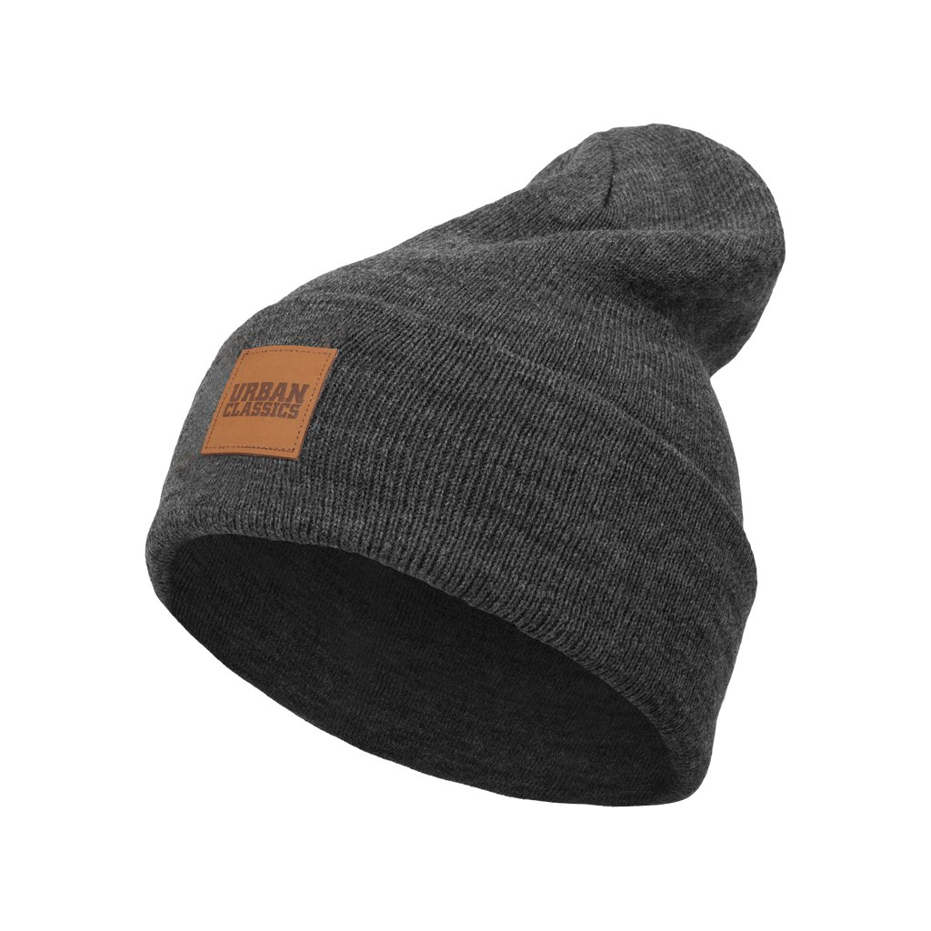 Čiapka Leatherpatch Long Beanie charcoal one size