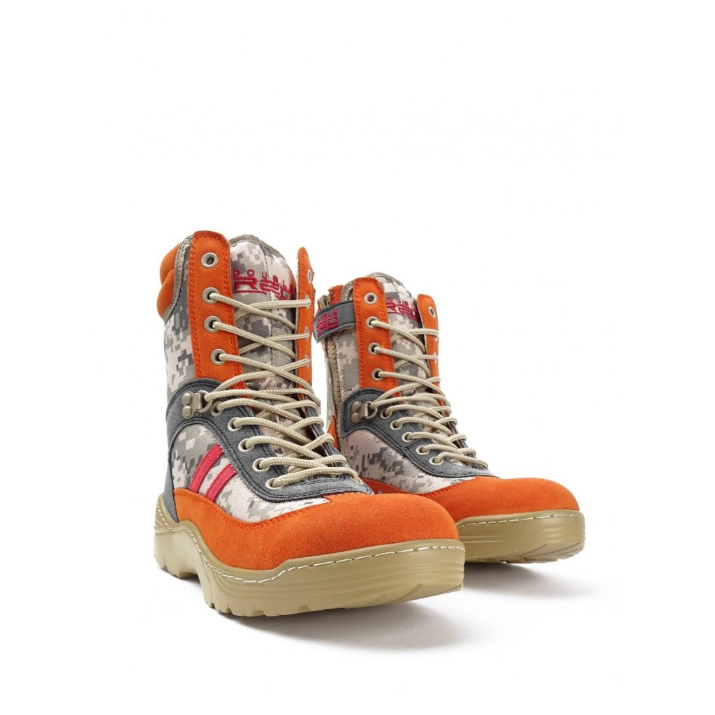 DOUBLE RED  Boots Crazy Army Color Red Desert Digital Orange