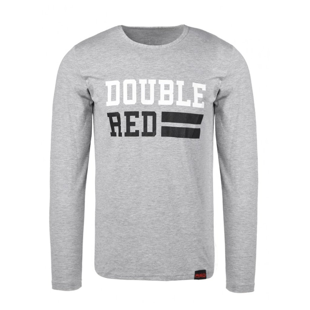 Tričko  DOUBLE RED  UNIVERSITY OF RED long sleeve Grey T-shirt
