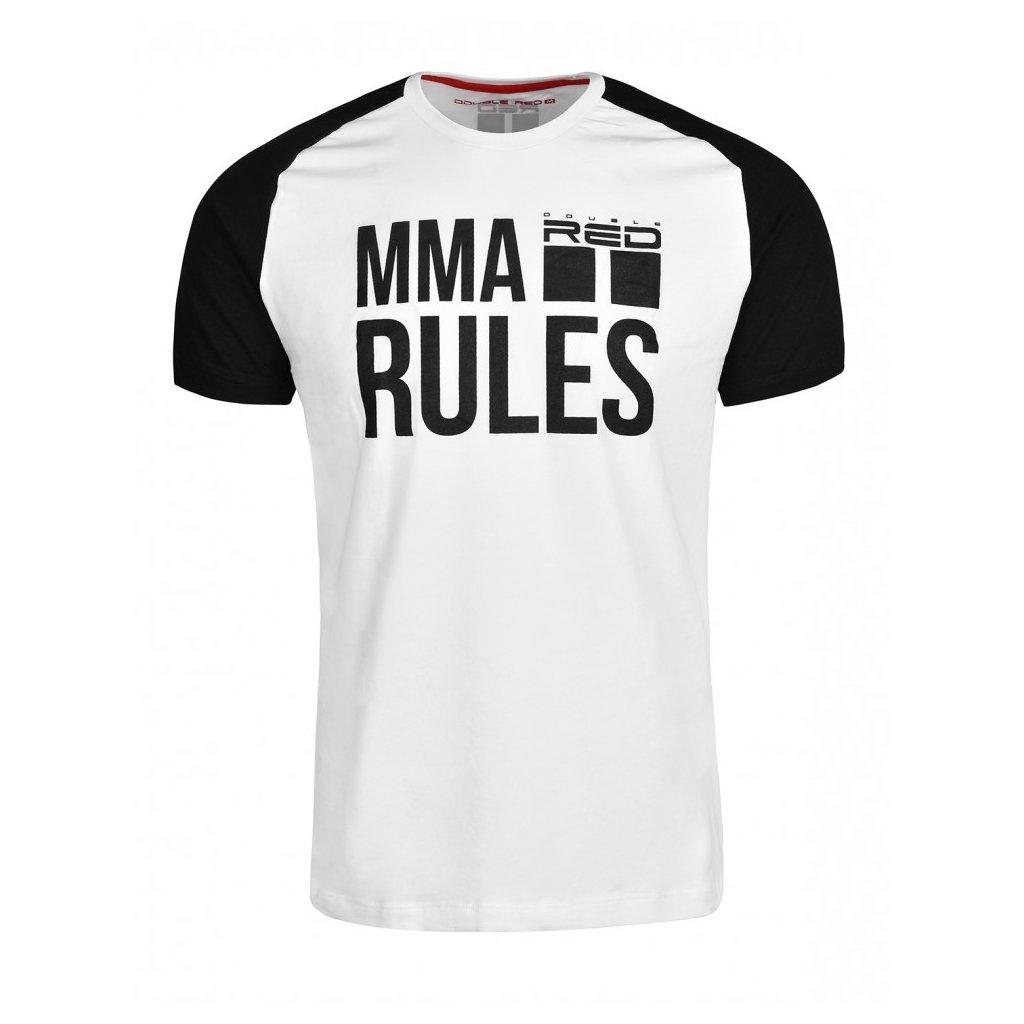 Tričko  DOUBLE RED  T-Shirt MMA RULES Black/White