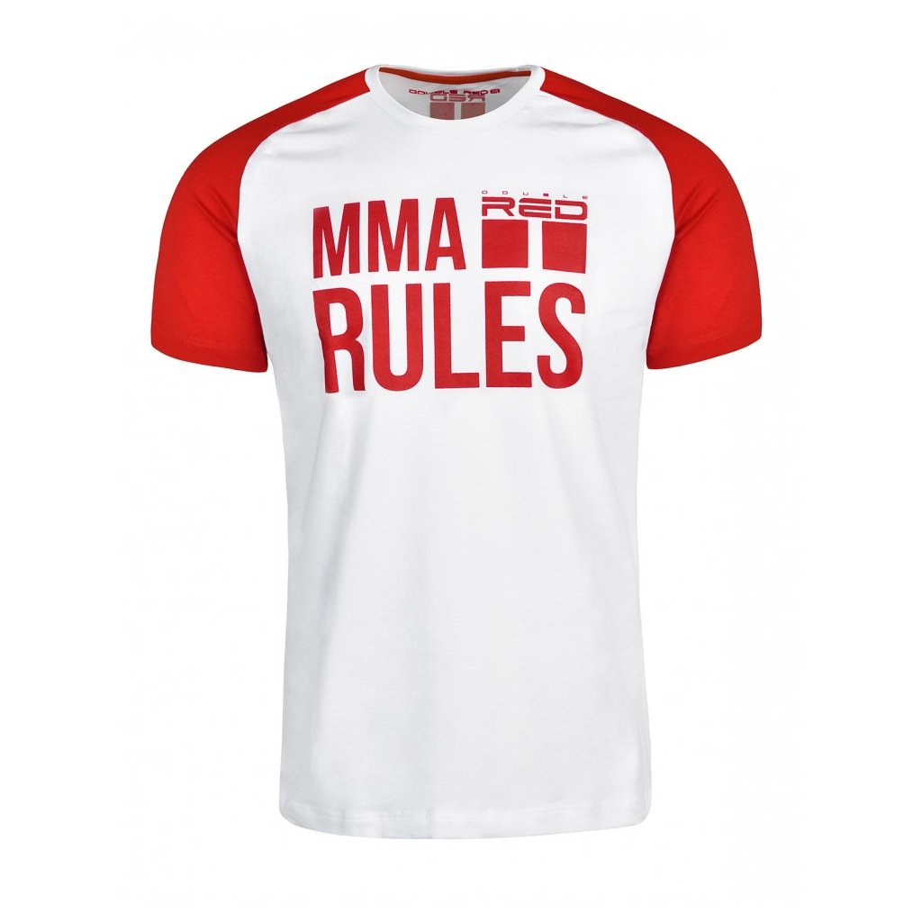 Tričko  DOUBLE RED  T-Shirt MMA RULES Red/White