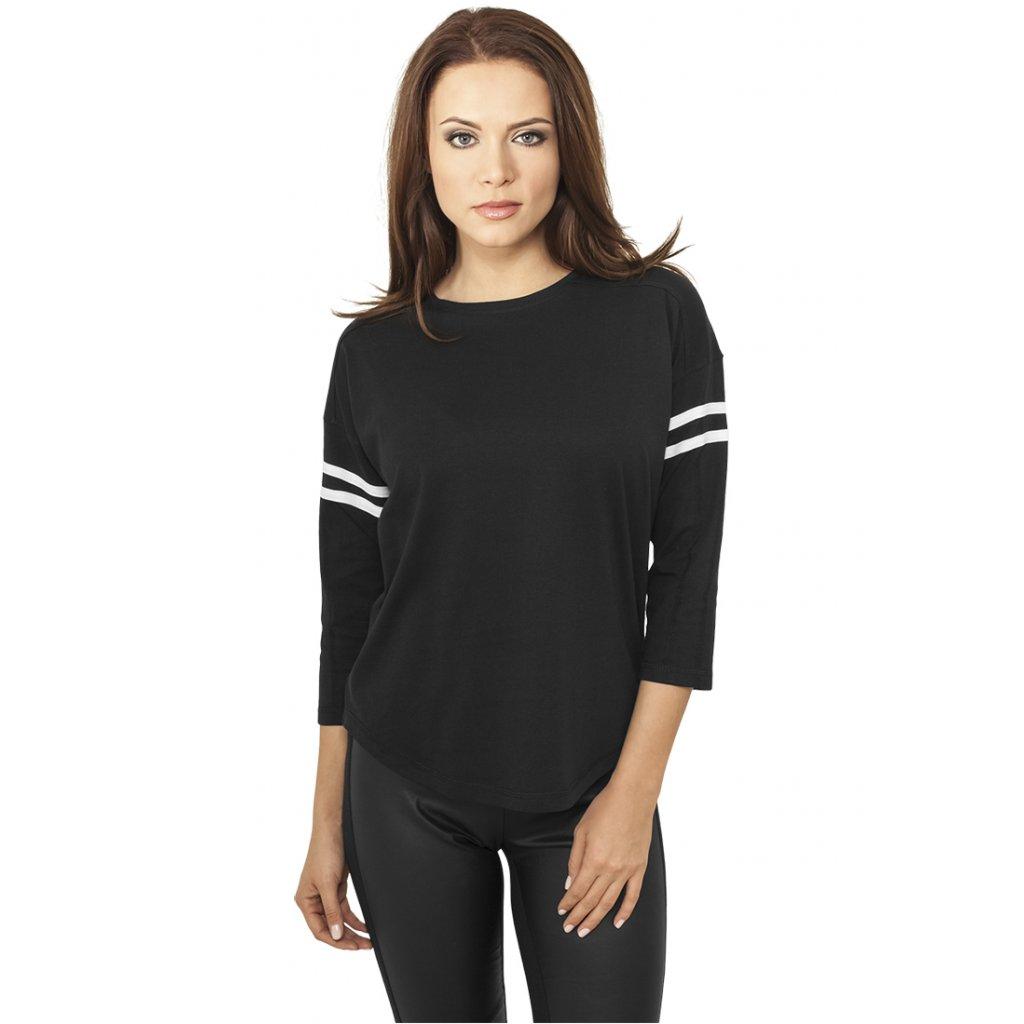 Dámske tričko Ladies Sleeve Striped L/S Tee blk/wht