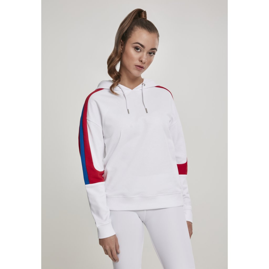 Dámska mikina Ladies Panel Terry Hoody wht/firered/brightblue