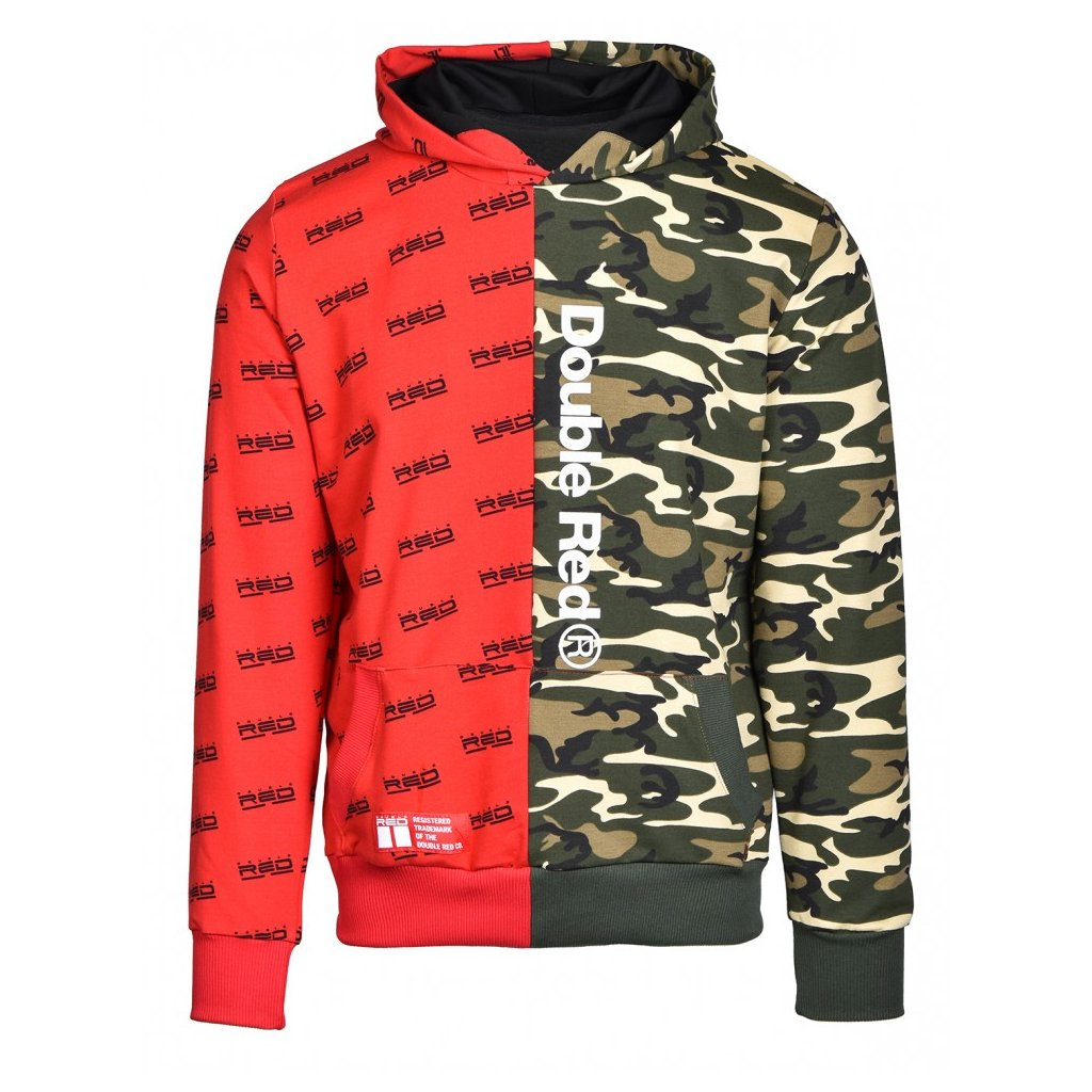 Mikina  DOUBLE RED  Hoodie DOUBLE FACE Red/Green Camo