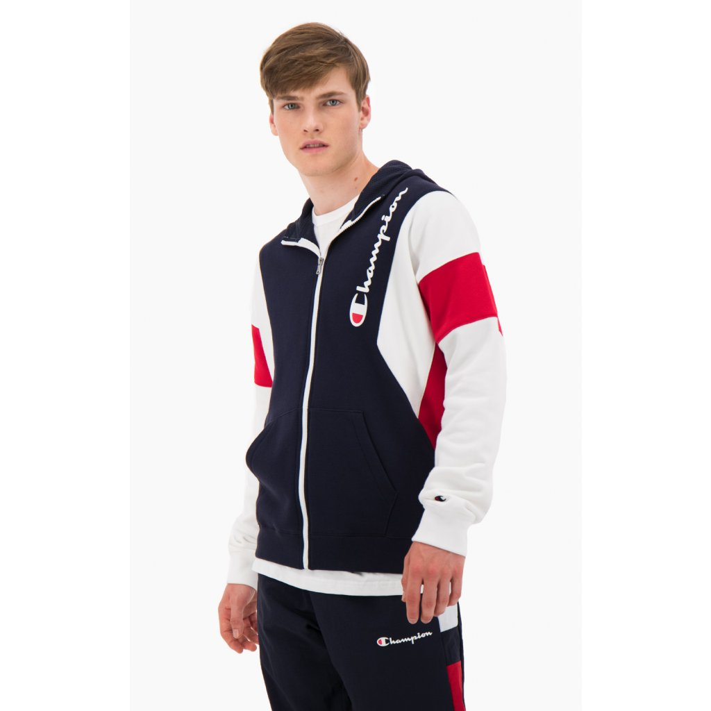 Pánska mikina CHAMPION Zip-Up Colour Block Cotton Terry Hooded Jacket