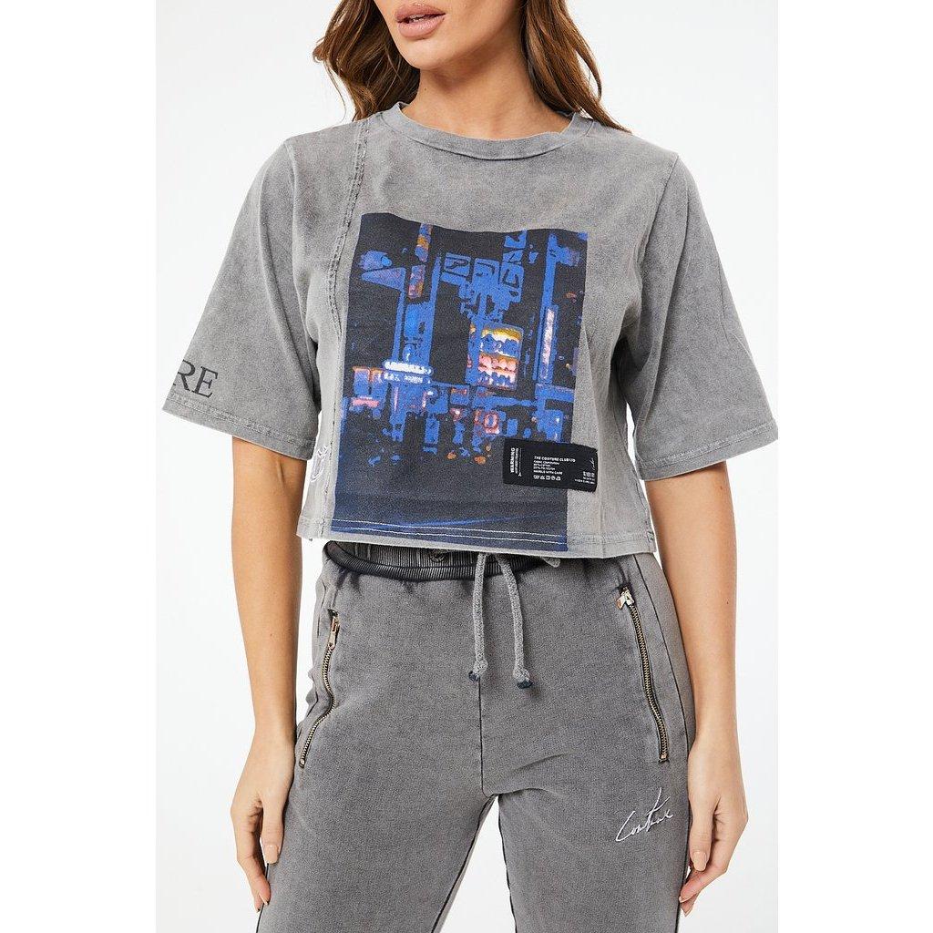 Dámske tričko The Couture Club GRAPHIC ACID WASHED CROP T SHIRT
