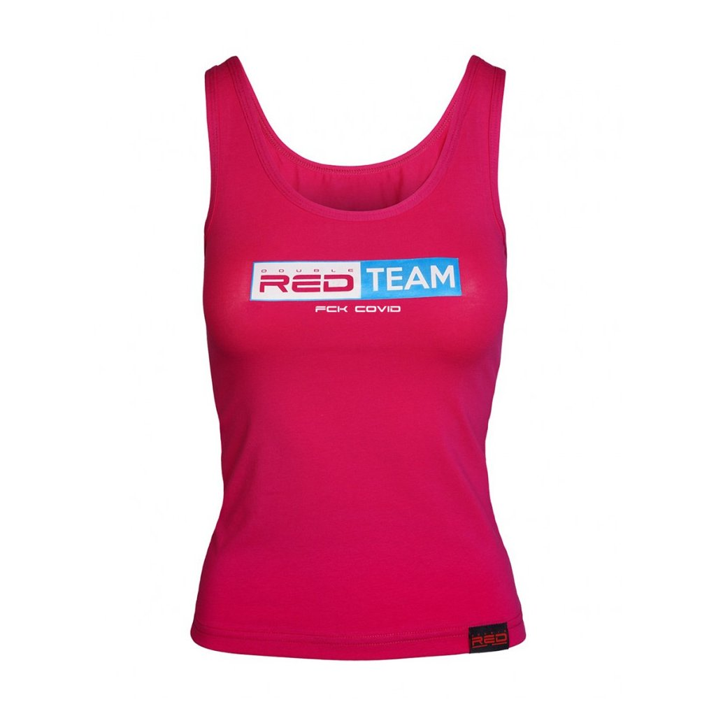 DOUBLE RED  FCK Covid RED TEAM Tank Top Pink