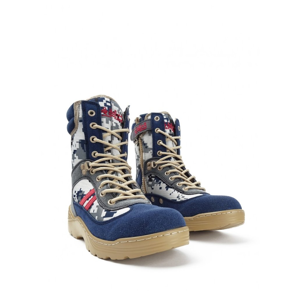 DOUBLE RED  Crazy Army Color Red Desert Digital Blue Boots
