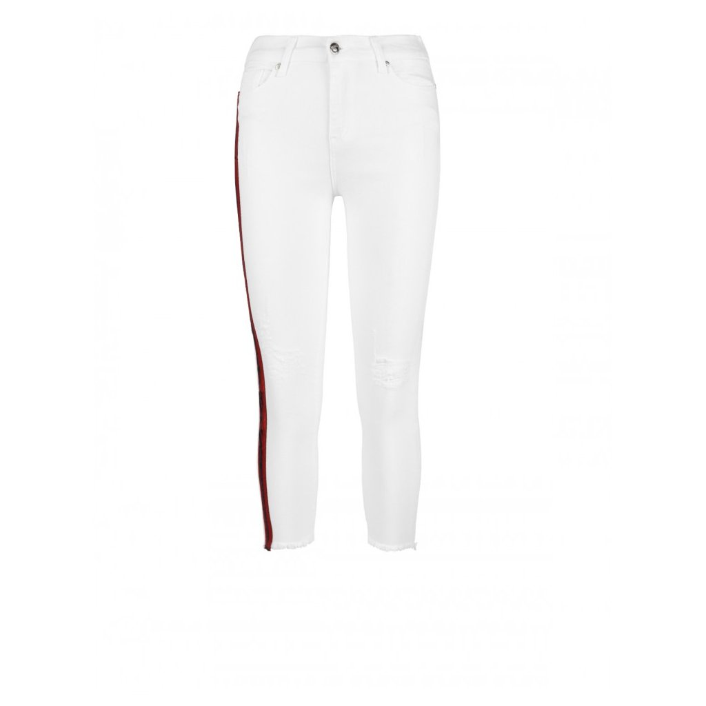 DOUBLE RED  STRIPES Jeans Collection White