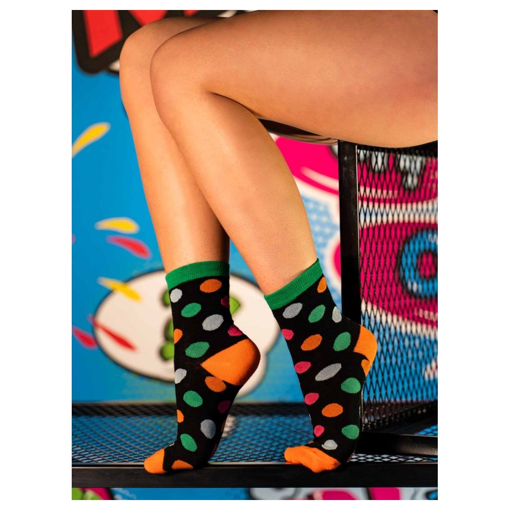 DOUBLE RED  Ponožky Women's FUN Socks Colorful Bubles