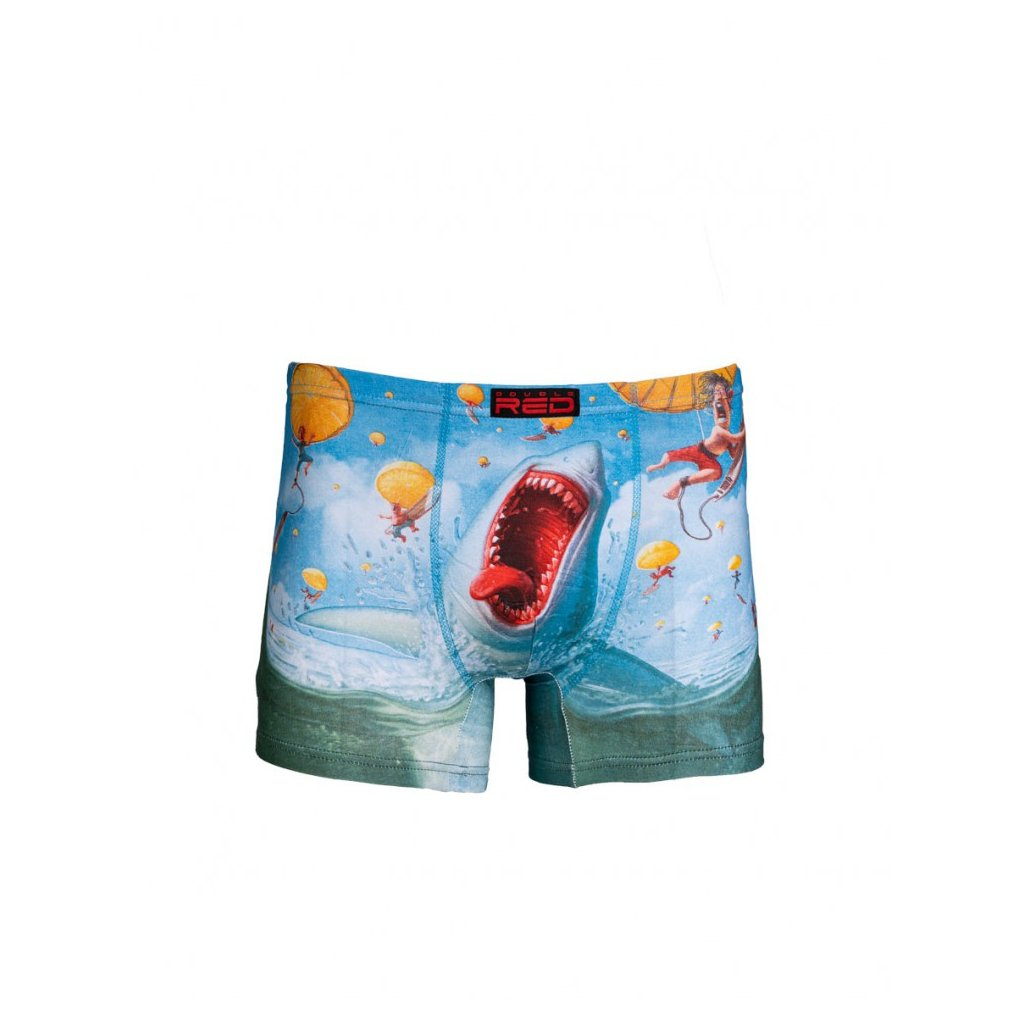 DOUBLE RED  2FUN Boxers Mad Shark Blue