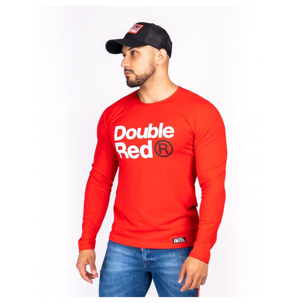 Tričko  DOUBLE RED  Red Neon Long Sleeve T-Shirt Red