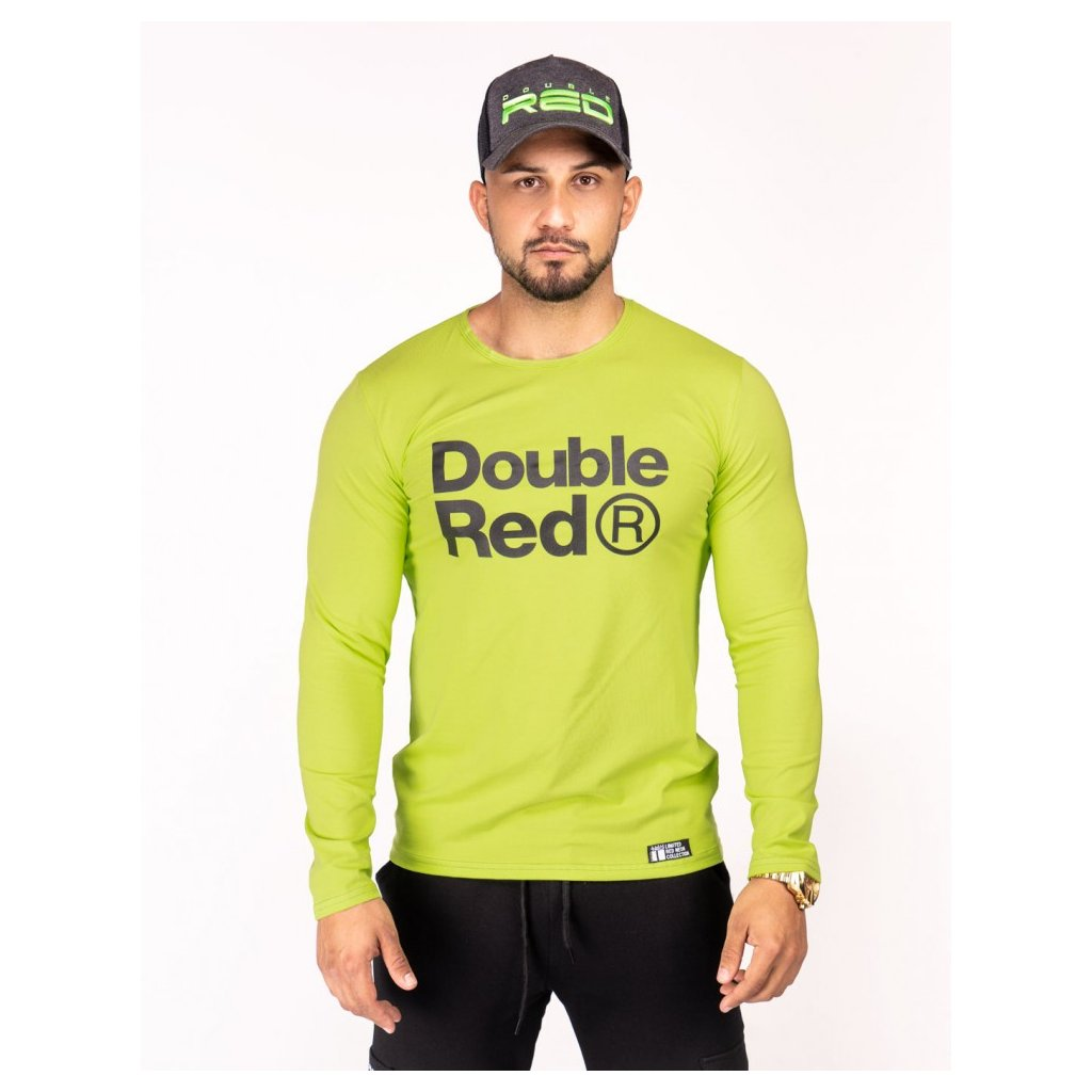 Tričko  DOUBLE RED  Red Neon Long Sleeve T-Shirt Green