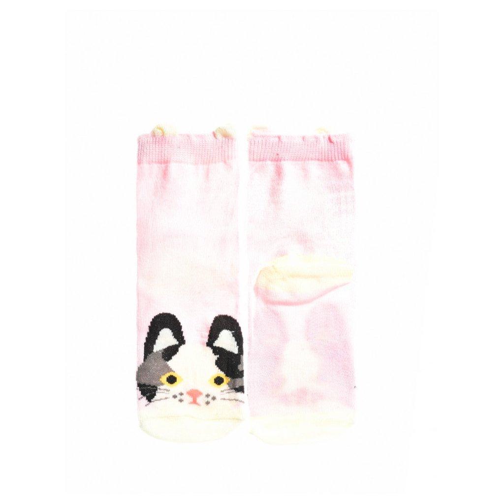 DOUBLE RED  KIDS Fun Socks Pink Kittie