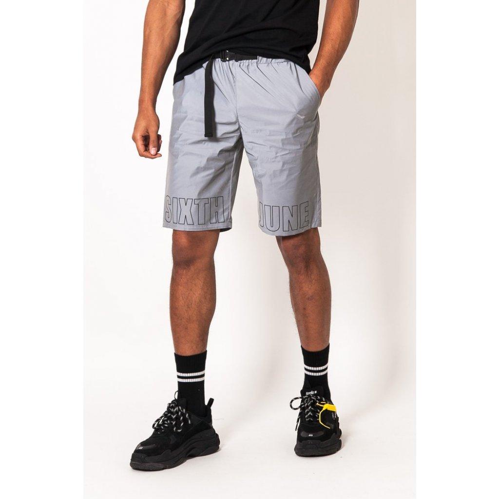 Reflective logo shorts grey