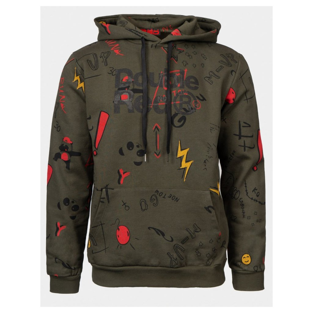 Mikina  DOUBLE RED  DOUBLE FUN TRADEMARK Hoodie Olive Green