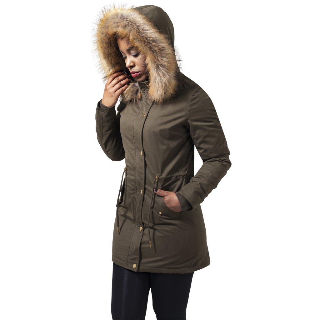 Dámska zimná bunda Ladies Sherpa Lined Peached Parka olive