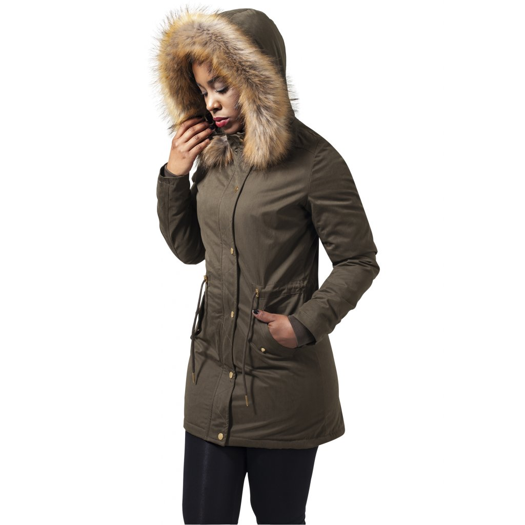 Dámska zimná bunda Ladies Sherpa Lined Peached Parka olive