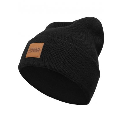 1038a10fb Leatherpatch Long Beanie black one size
