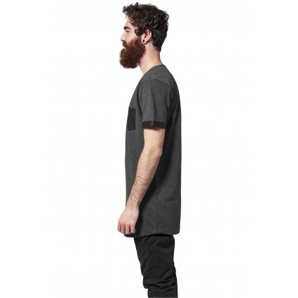Pánske tričko Long Shaped Leather Imitation Tee cha/blk