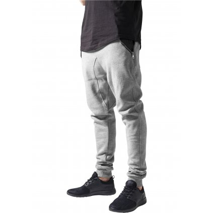 Pánske tepláky  Side Zip Leather Pocket Sweatpant gry/blk
