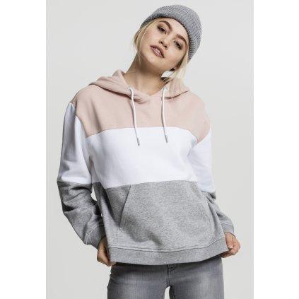 Dámska mikina Ladies Oversize 3-Tone Hoody light rose/white/grey