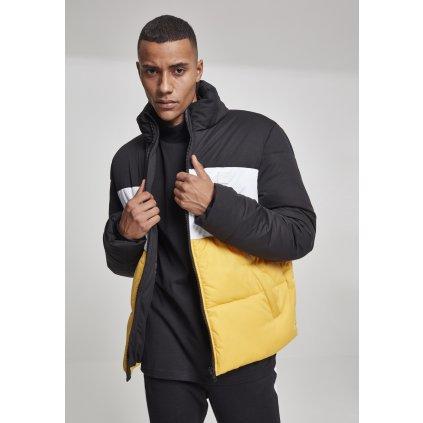 Pánska zimná bunda 3-Tone Boxy Puffer Jacket blk/chromeyellow/wht XL