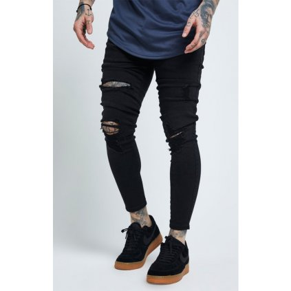 Pánske rifle SIKSILK  DISTRESSED SKINNY JEANS