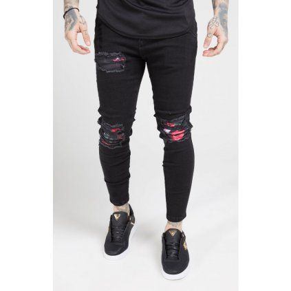 Pánske rifle SIKSILK SKINNY OIL PATCH DENIMS