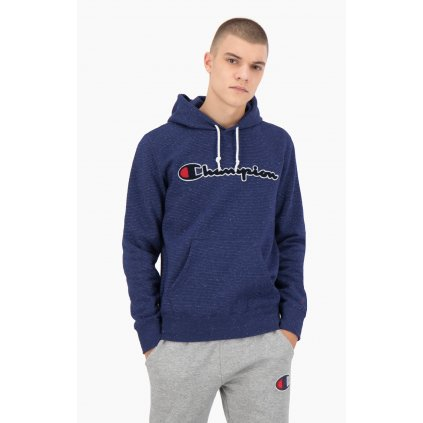 Pánska mikina CHAMPION Striped Cotton Mélange Script Logo Hoodie