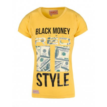 Tričko  DOUBLE RED  Black Money Red Style Yellow