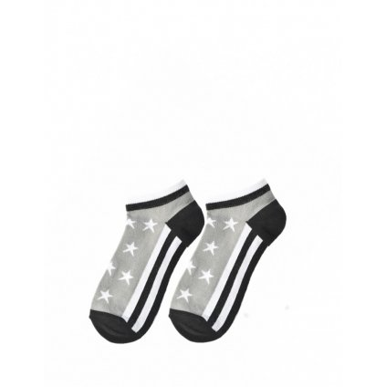 DOUBLE RED  Ponožky FUN Low Cut Socks Stars Grey